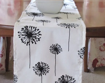 "Black TABLE RUNNER.-BLack Wedding Table Runner.  Black and White  Dandelion Placemat.48"", 60"",72"",84"",96"" Runner or 12 x 18""Placemat."