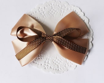 Ligh Brown Satin Ribbon Bow Hair Clip Hair Accessories
