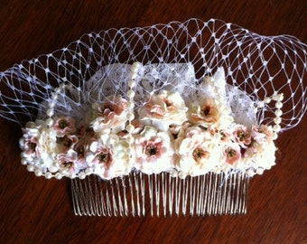 Bridal Comb Handmade With Pale Pink Roses , Pearls And Lace