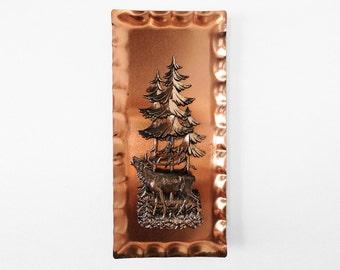 German Copper Metal Wall Art Plaque / Woodland