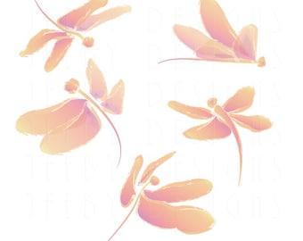 Dragonfly Clip Art - Set of Five Dragonflies - Peach - Orange - Violet