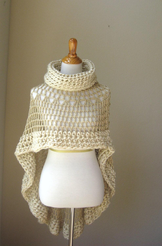 Crochet Pattern For Bohemian Shawl : 1 Beige Bohemian Poncho Crochet Knit Cream Cape Shawl