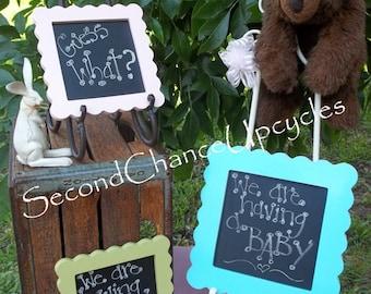 Chalkboard Custom Frame Photo Prop Its A Boy Announcement Scalloped Framed Chalkboard Custom Frame Portable Chalkboard