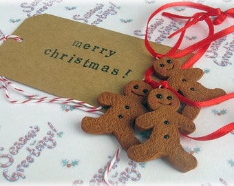 Gingerbread Man Decoration Fimo Polymer Clay Hanging Christmas Tree Ornament Xmas Decor Festive Red Ribbon