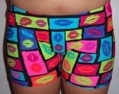 Youth Neon Lips Spandex Shorts, Cheer Shorts, Spandex Dance Shorts, Spandex Gymnastics Shorts, Running Spandex Shorts