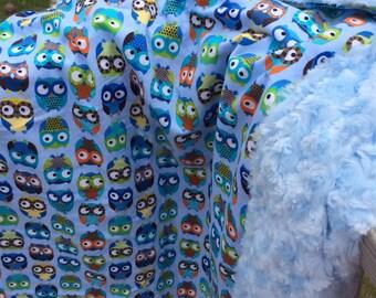 Blue owl minky rosette blanket