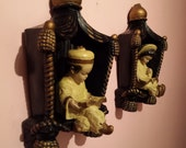 Mid Century Modern set of 2 CHALK WARE PLAQUES Japanese boy and girl chartreuse black 1950s asian  kitcsh
