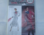 80s Big Shoulders Coat Dress PATTERN Burda 5878 Uncut 10 12 14 16 18 20