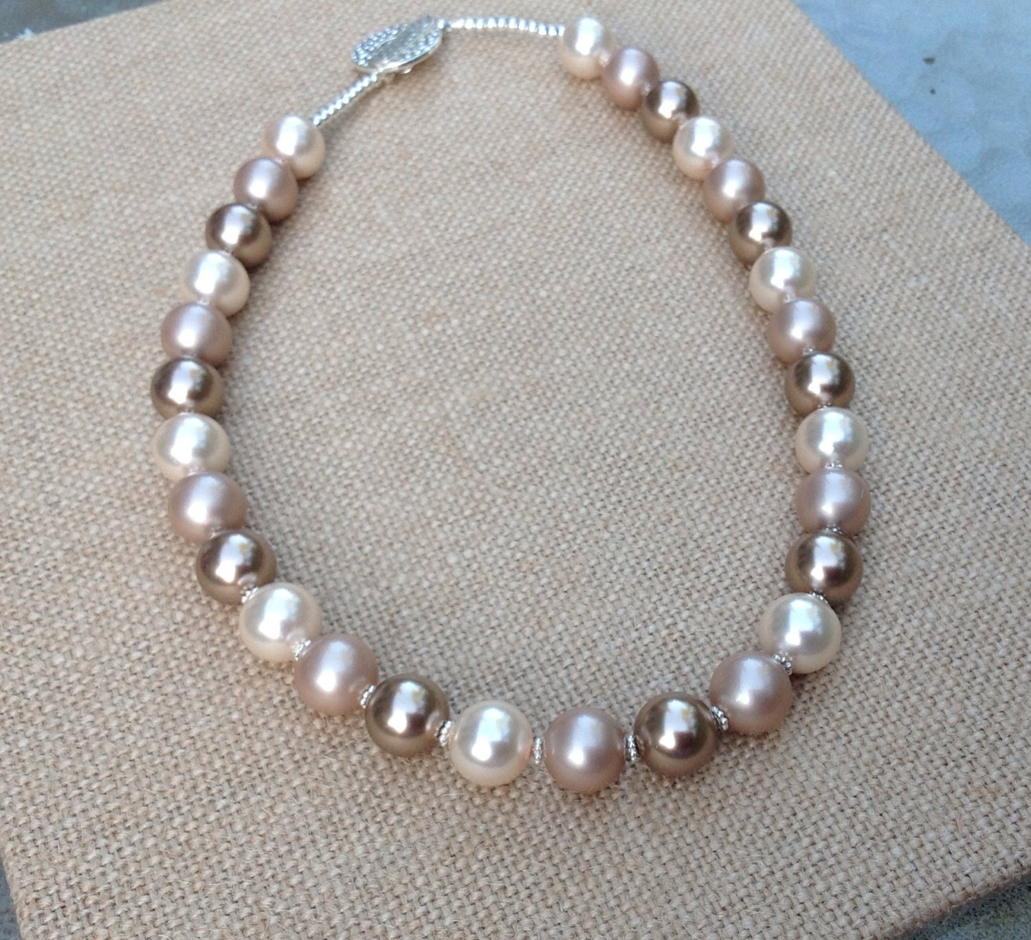 Peach Pearl Necklace: Three Color Pearl Necklace. Peach Almond Bronze. Warm Fall