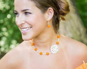 Orange Jewelry-Orange Necklace-Orange Bridesmaid Jewelry-Bridesmaid Gift-Tangerine-Bridesmaid Jewelry-Orange Wedding Jewelry-Orange Earrings