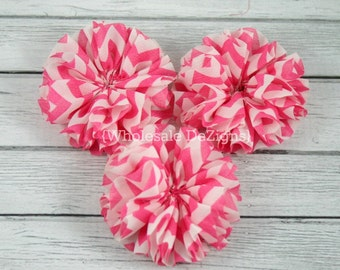 "SALE Pink Chevron Ballerina Twirl flowers - 2.5"" Chiffon Flowers - 2.5 inches DIY Flower"