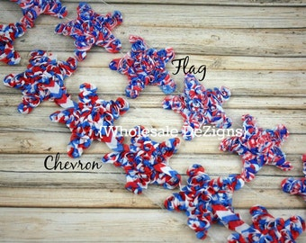 "Flag Chiffon Star Rosettes - Chevron & Flag Red White and Blue - Fourth of July Stars - 2"" - 2.5"""