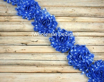 Blue and White Polka Dots Shabby Chic Chiffon Flowers - One Yard Wholesale Frayed Vintage Rosettes 1 yard
