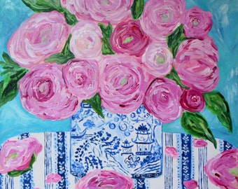 "GICLEE PRINT, Peonies in Blue and White Ginger Jar, Floral Still Life, Pink Peonies,""Frances"" by Carolyn Shultz"