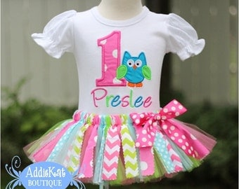 Personalized Owl Fabric Tutu Birthday Outfit - Pink Polka Dots and Chevron