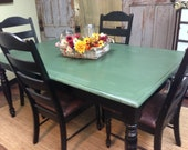 Farm Style Table, Country Kitchen Table Set, Distressed Furniture - VintageHipDecor