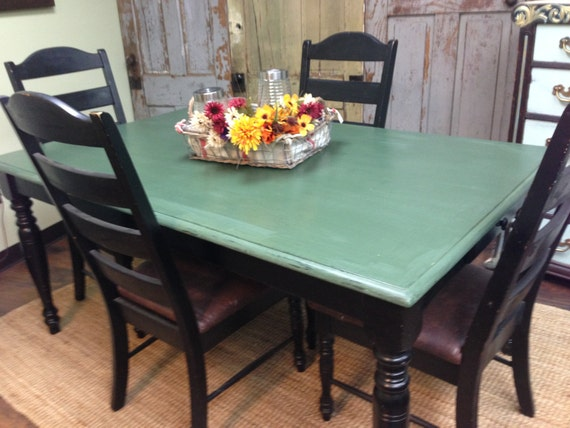 Farm style table country kitchen table set distressed - Painted dining tables distressed ...