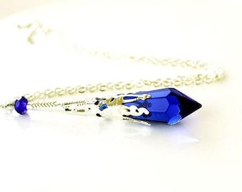 Cone teardrop dark blue pendant necklace silver antique ice women unique necklace