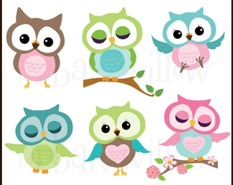 Clip art owls, Digital Clipart Owls, Green, blue, pink cute owls. Cute animal clipart, Commercial Use OK.