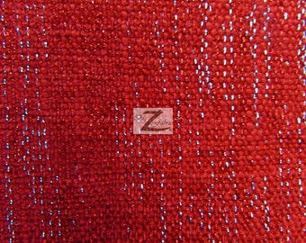 "Sparkle Chenille Upholstery Fabric - RED - 57"" Width Sold By The Yard"