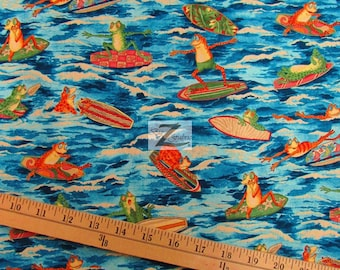 "100% Cotton Fabric By Alexander Henry - Ribbit Surf - 45"" Width Sold By The Yard (FH-790)"
