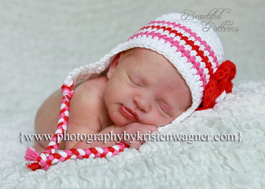 Crochet Pattern Newborn Girl Hat : Crochet Hat Pattern Photo Prop Baby Girl by BeautifulPatterns