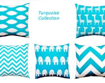Pillows. Decorative Throw Pillow Covers.  Turquoise.  Nursery Kids Cushion Covers  Accent Pillow  Blue Pillows