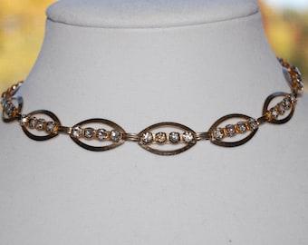 Vintage Gold Rhinestone Choker Necklace, 1980's Costume Jewelry