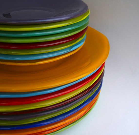 Small Decorative Plates Sets: Items Similar To Bright Colored, Handmade, Fused Glass