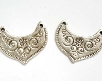 2 Oxidized Silver Moroccan Style Connectors - 1-MS-5