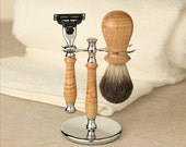 Razor and Brush Set - Mach 3 - Curly Maple in Chrome Hardware