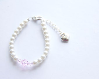 Baby Bracelet for 0-12 months, 6 mths to 2 yrs, 2-8 yrs Handmade - Light Pink Swarovski crystals, Cream beads with heart link extension.