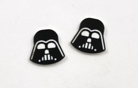 Laser Cut Supplies- Set of 8. Laser Cut Acrylic Darth Vader, Made from Two Toned Plastic,Perfect for jewelry making and crafts