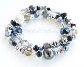 Beaded Stretch Stack Bracelet Black Hematite Pearl Silver Smokey Quartz Crystal Black Beaded Bracelet