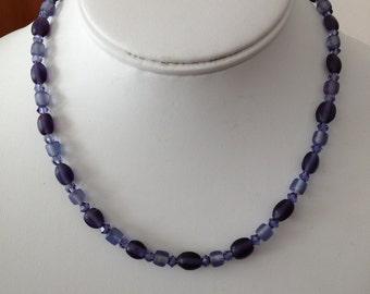 Purple Velvet and Swarovski Necklace.