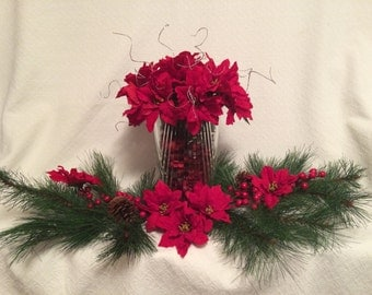 Christmas Table Centerpiece with Lead Crystal Vace filled with potpourri