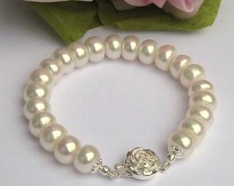 Bridal Bracelet, Freshwater Pearl Wedding Bracelet, Pearl Bridal Jewelry,Ivory Freshwater  Pearl Bridal Single Strand Bracelet