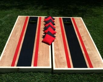 Tournament Cornhole game Red and Black Stripe
