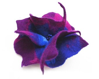 Felted Brooch nunofelt silk flower nunofelt la belle epoque purple lilac jade green folk boho wool victorian fairy