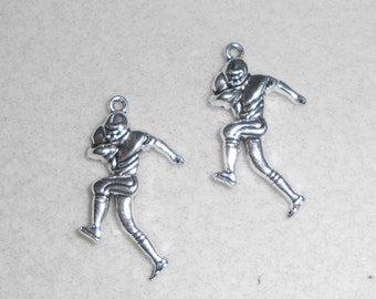 Silver Sports Football Player  Charms