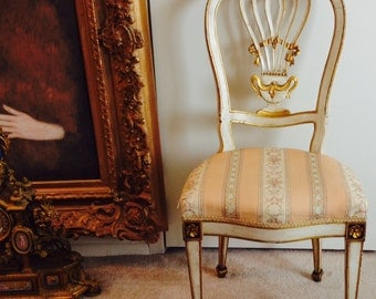 Lady boudoir side chair cream partially gilded frame