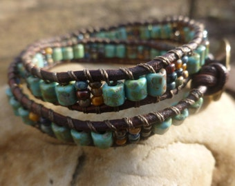 Turquoise Picasso Tubes with Picasso Seed Bead 2X Wrap Bracelet Rustic Jewelry Boho Wrap Leather Wrap Bracelet
