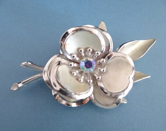 Vintage Brushed and Shiny Silvertone Aurora Borealis Flower Brooch - Pretty Retro Piece