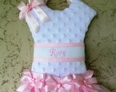 Hair Bow Holder Tutu Pink and White Minky Personalized   Turnaround time 3 weeks