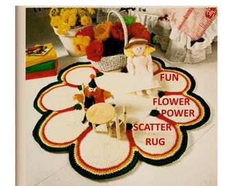 Digital Download Groovy Flower Power Crochet Rug Pattern - Hippie Era Crochet Scatter Rug Pattern - Crochet Supplies Crochet Patterns