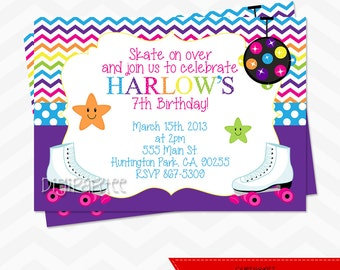 Roller Skates Birthday Invitation
