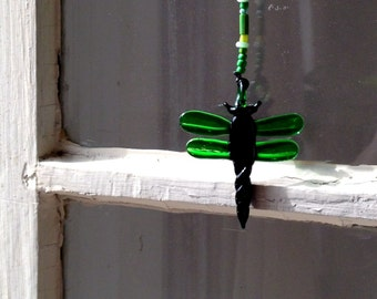 Dragonfly Glass SunCatcher - Beaded Dragonfly Dangle