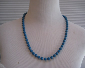 Teal plastic bead necklace, turquiose bead necklace, gift for her