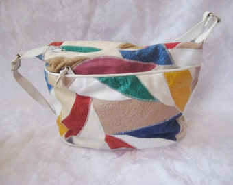 White leather patchwork bag purse, 70s purse, vintage handbag, shoulder bag