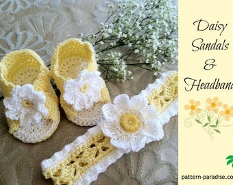 Crochet Pattern for Baby Booties and Headband, Daisy Booties Sandals and Headband Set for Baby Girl, PDF 12-024 INSTANT DOWNLOAD
